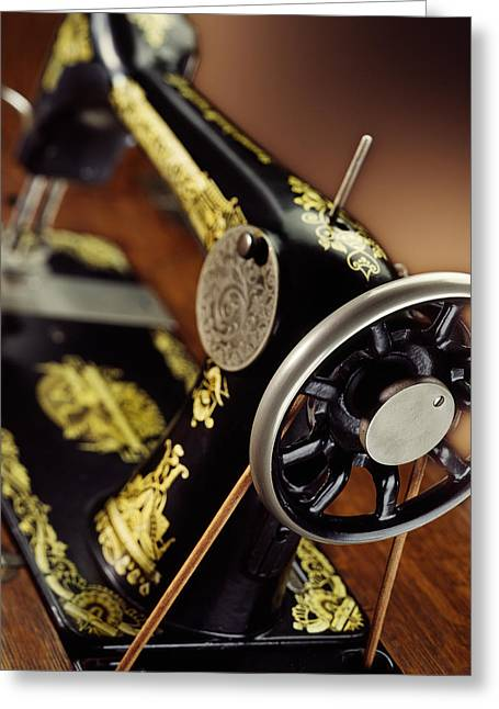 Antique Singer Sewing Machine 3 Greeting Card by Kelley King