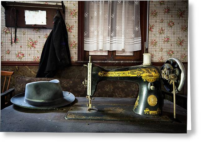 Antique Singer Sewing Machine - Abandoned House Greeting Card by Dirk Ercken