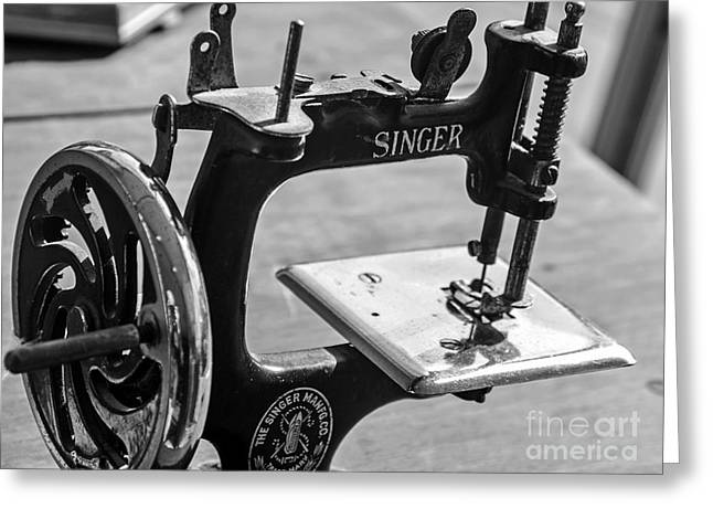 Antique Singer Sewing Machine  Greeting Card by JW Hanley