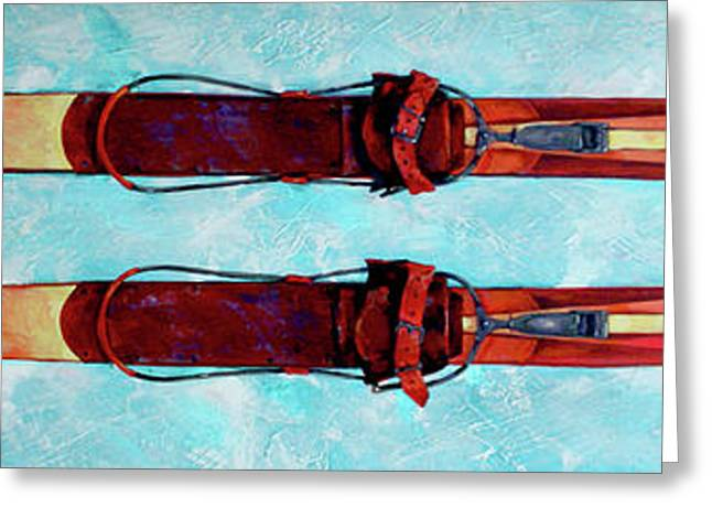 Antique Skis Greeting Card