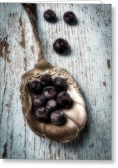 Antique Spoon And Buleberries Greeting Card by Garry Gay