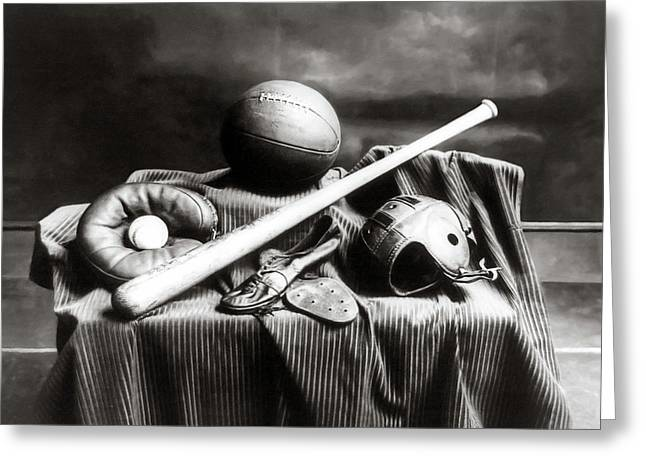Antique Sports Equipment - American Athletics Greeting Card