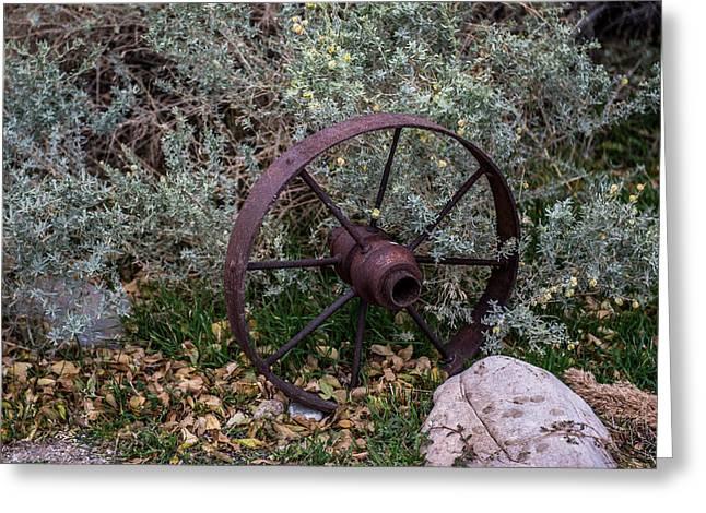 Antique Steel Wagon Wheel Greeting Card by Paul Freidlund