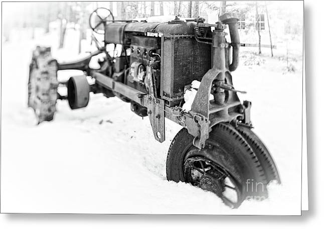 Greeting Card featuring the photograph Antique Steel Wheel Tractor Black And White by Edward Fielding