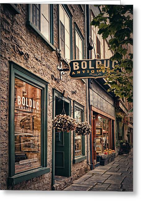 Antique Store - Rue Saint- Paul - Quebec City Greeting Card by Maria Angelica Maira