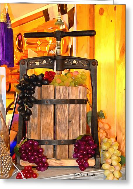 Antique Store Wine Press 2 Greeting Card by Barbara Snyder