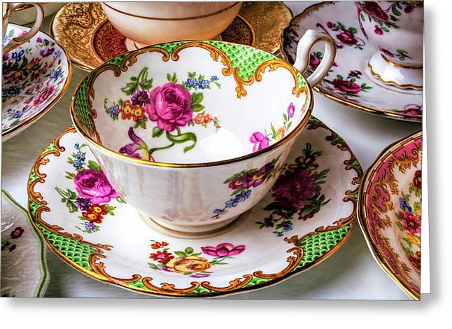 Antique Tea Cups Greeting Card by Garry Gay