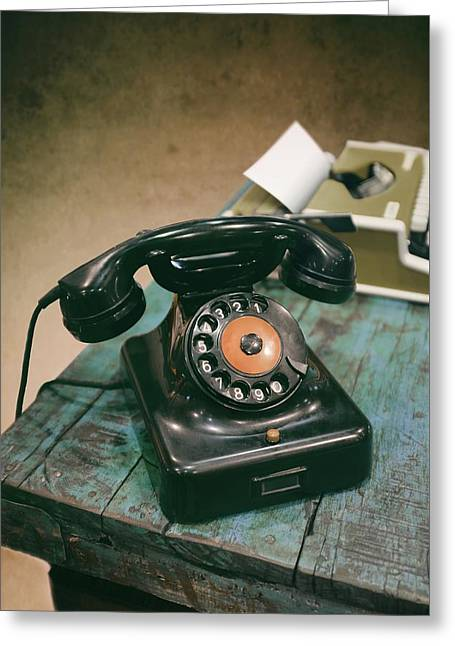 Antique Telephone And Typewriter Greeting Card by Carlos Caetano