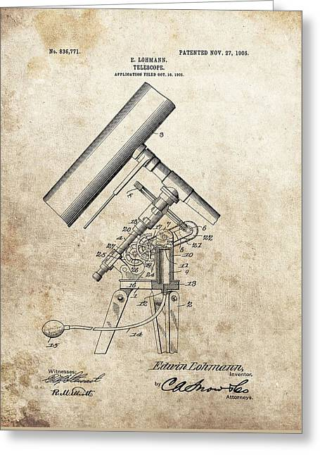Antique Telescope Patent Greeting Card by Dan Sproul