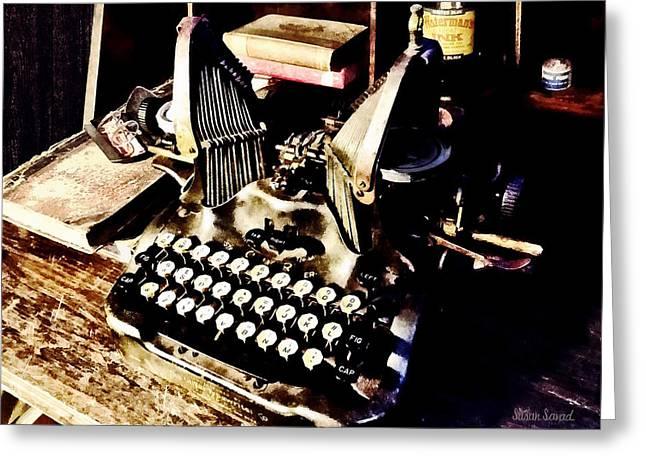 Antique Typewriter Oliver #9 Greeting Card by Susan Savad