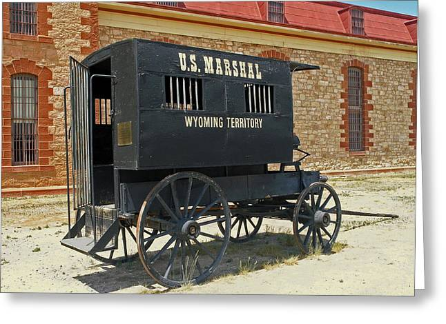 Antique U.s Marshalls Wagon Greeting Card by Sally Weigand