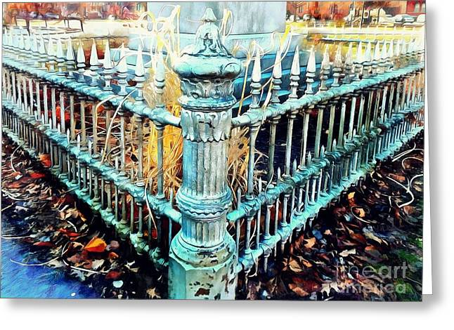 Antique Victorian Wrought Iron Fence - Time Will Tell Greeting Card