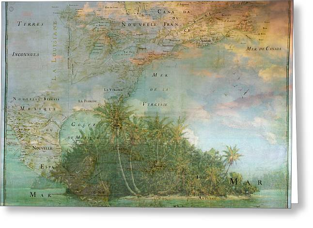 Greeting Card featuring the photograph Antique Vintage Map Of North America Tropical Ocean by Debra and Dave Vanderlaan
