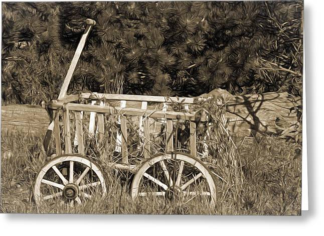 Antique Wagon Greeting Card by Donna Kennedy