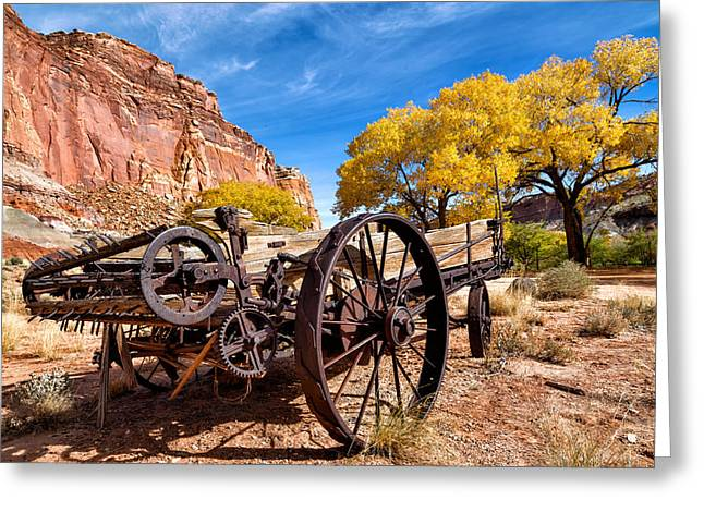 Antique Wagon In The Desert Greeting Card