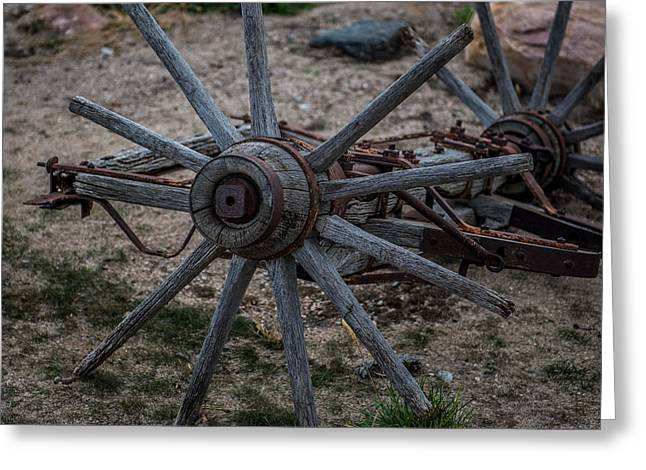 Antique Wagon Wheel Greeting Card by Paul Freidlund