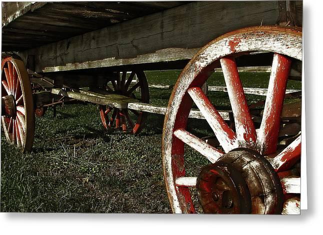Antique Wagon Wheels Greeting Card by Scott Hovind