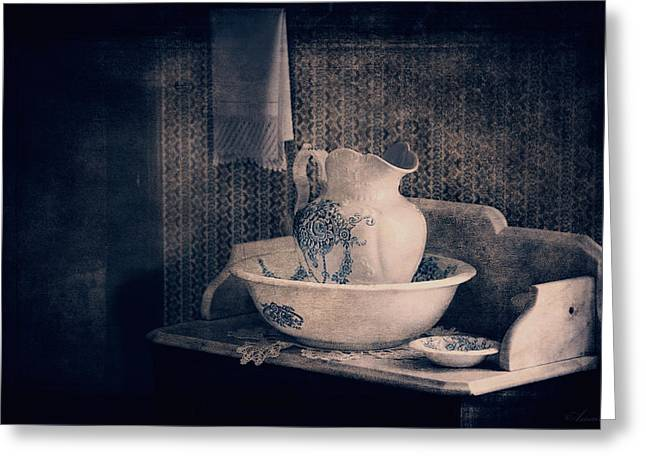 Antique Wash Basin And Pitcher  Greeting Card