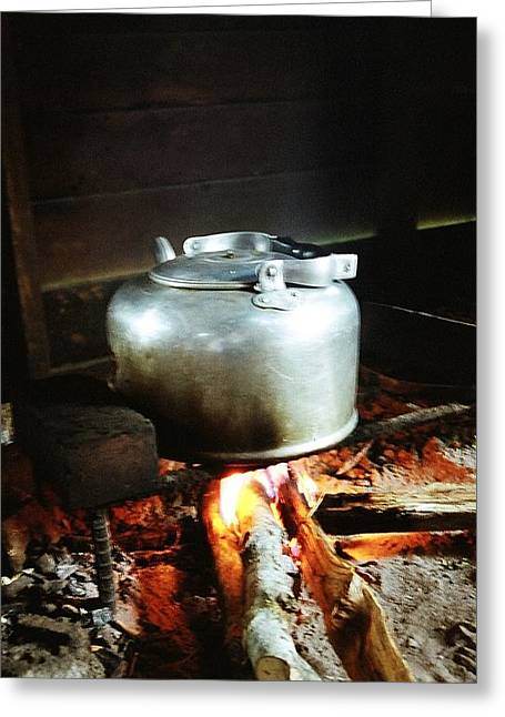 Antique Water Kettle On A Fire In Malaysia Greeting Card by Gosta Eger