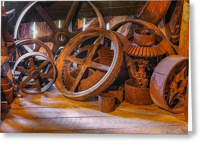 Antique Wheels And Gears Greeting Card