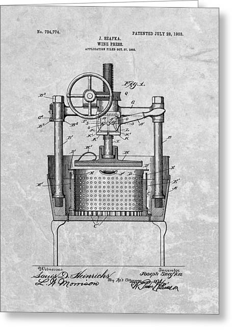 Antique Wine Press Patent Greeting Card by Dan Sproul