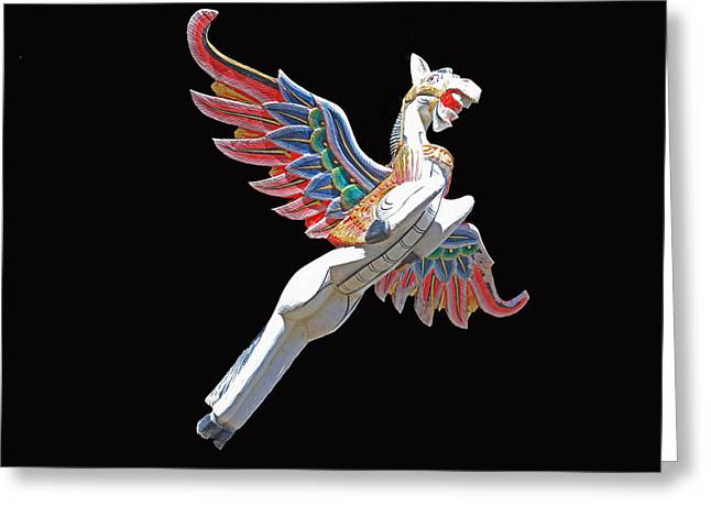 Antique Winged Pegasus Greeting Card by Donna Kennedy