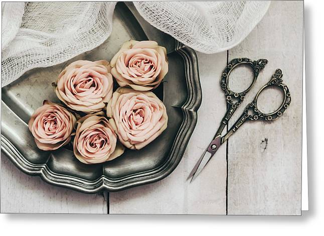 Greeting Card featuring the photograph Antiqued Roses by Kim Hojnacki