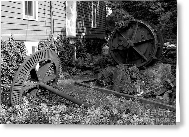 Antiques At Red Mill - Black And White Greeting Card by Jacqueline M Lewis