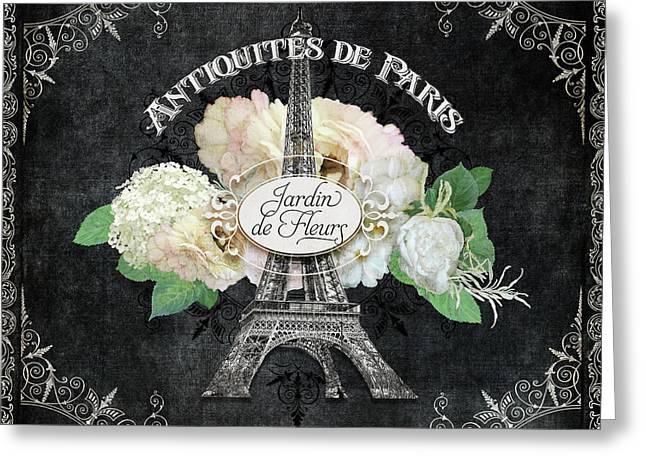 Antiquities De Paris Eiffel Tower  Floral Greeting Card by Audrey Jeanne Roberts