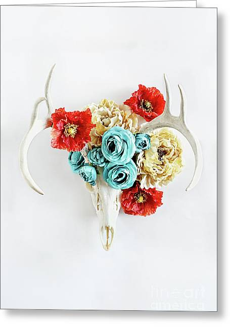 Greeting Card featuring the photograph Antlers And Florals by Stephanie Frey