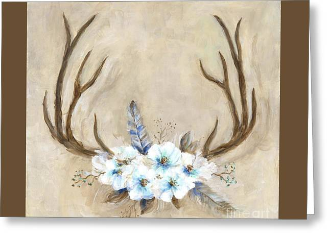 Antlers And Flowers Greeting Card
