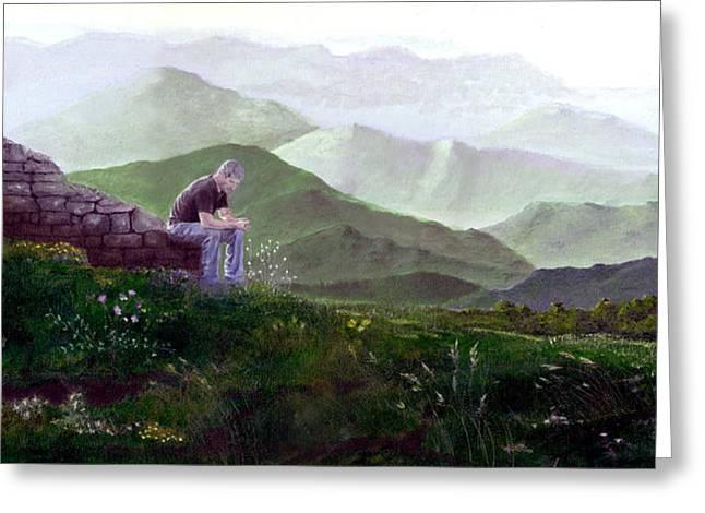 Deep In Thought Paintings Greeting Cards - Antonio Atop La Rocca de Monte Calvo Greeting Card by Albert Puskaric