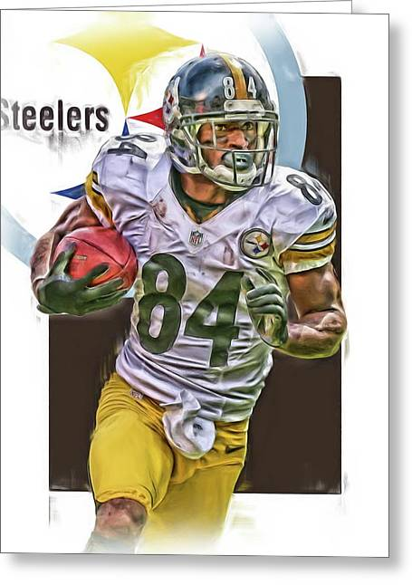 Antonio Brown Pittsburgh Steelers Oil Art 4  Greeting Card