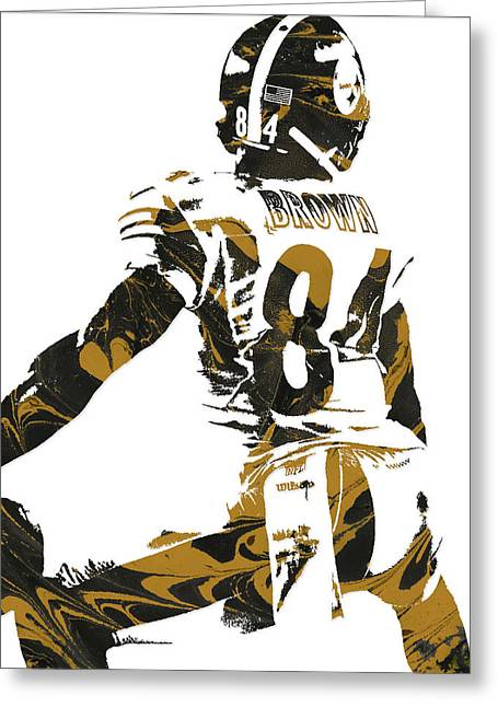 Antonio Brown Pittsburgh Steelers Pixel Art 6 Greeting Card by Joe Hamilton