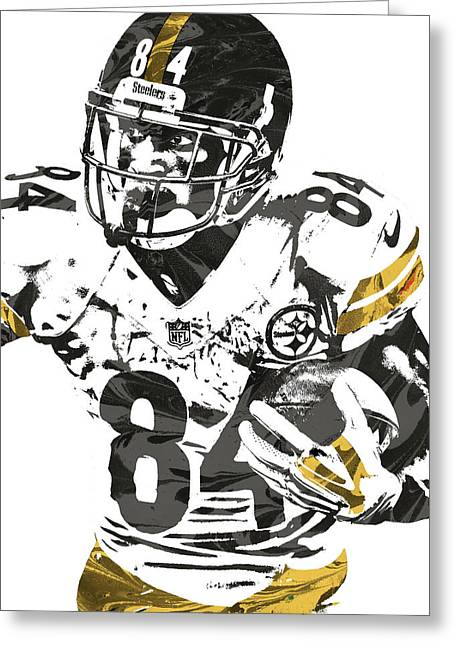 Antonio Brown Pittsburgh Steelers Pixel Art Greeting Card by Joe Hamilton