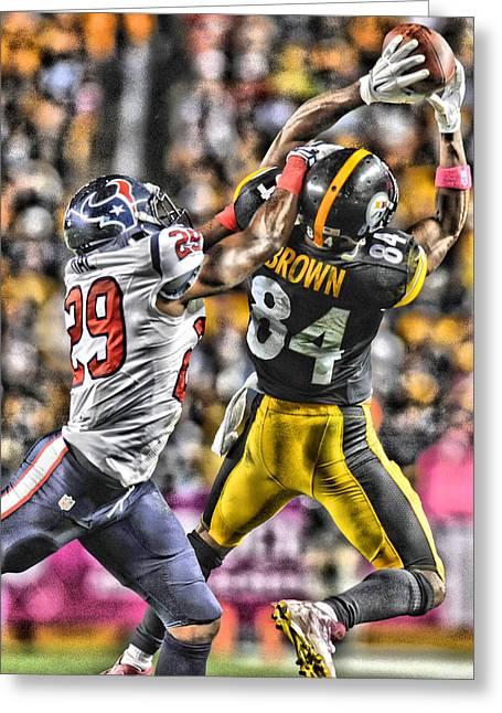 Antonio Brown Steelers Art 4 Greeting Card by Joe Hamilton