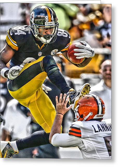Antonio Brown Steelers Art 5 Greeting Card by Joe Hamilton