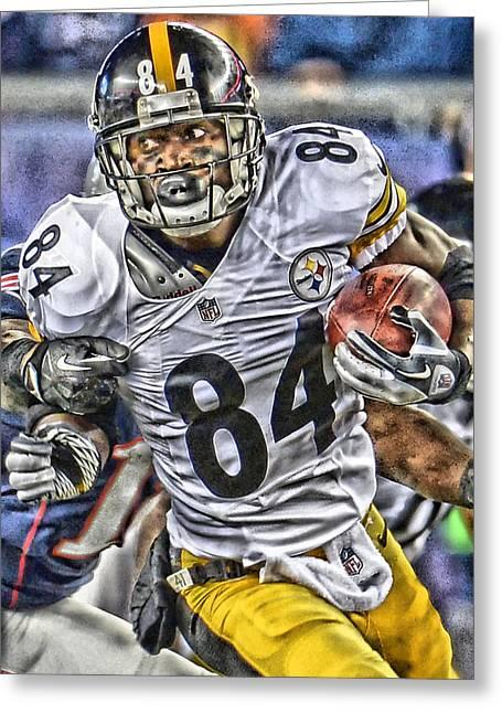Antonio Brown Steelers Art Greeting Card by Joe Hamilton