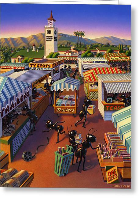 Farmers Markets Greeting Cards - Ants at the Hollywood Farmers Market Greeting Card by Robin Moline