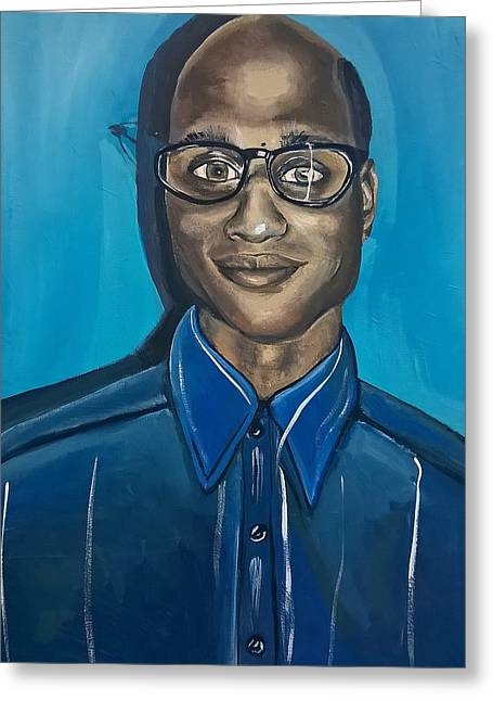 Smart Black Man Nerd Guy With Glasses Cartoon Art Painting Greeting Card