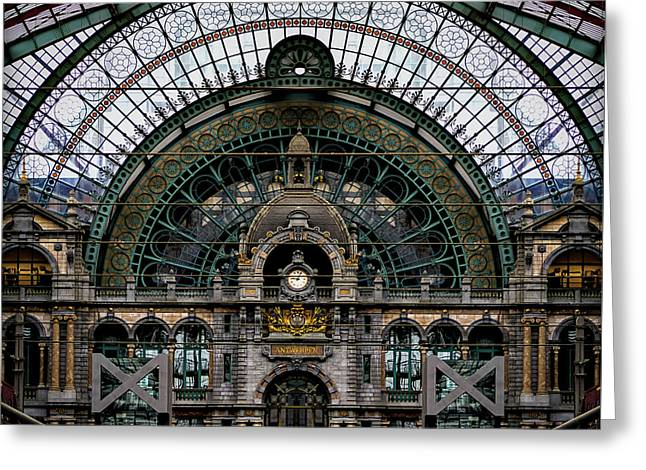 Antwerp Train Terminal Greeting Card by Doug Sturgess