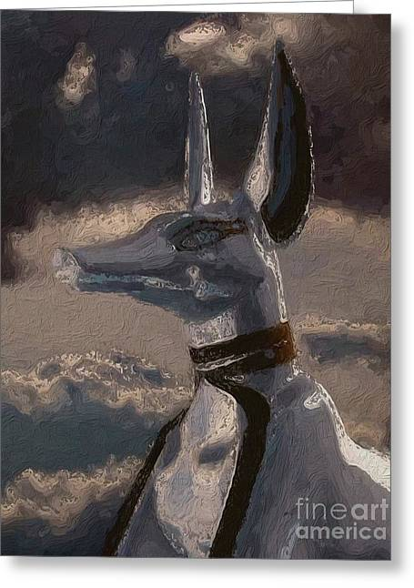 Anubis God Of Egypt By Mary Bassett Greeting Card