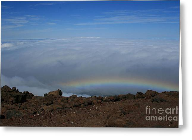 Anuenue - Rainbow At The Ahinahina Ahu Haleakala Sunrise Maui Hawaii Greeting Card