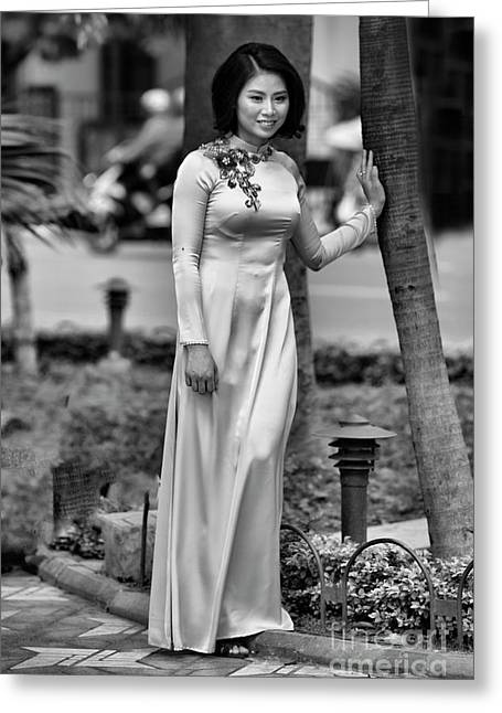 Ao Dai Black White II Greeting Card by Chuck Kuhn
