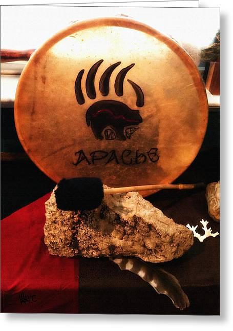 Apache Drum Greeting Card by Ayasha Loya