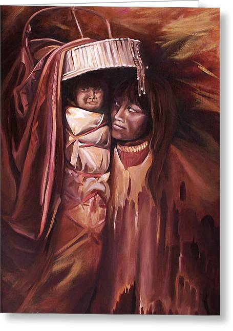 Greeting Card featuring the painting Apache Girl And Papoose by Nancy Griswold