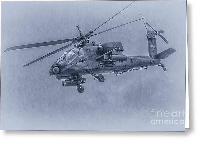 Apache Helicopter In Blue Greeting Card by Randy Steele