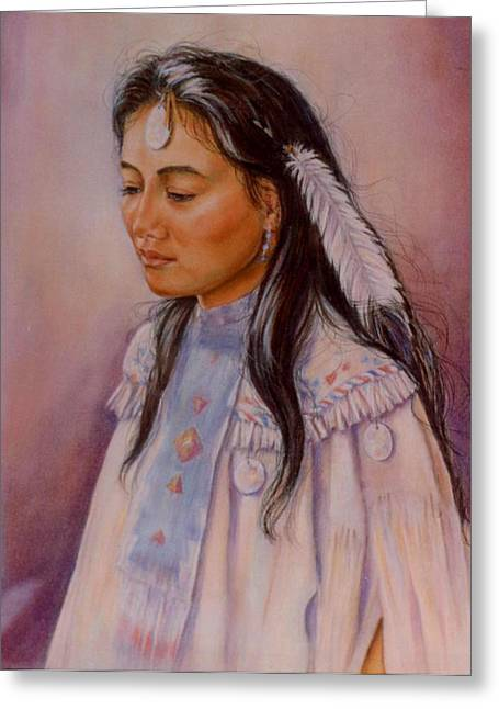 Apache Maiden Greeting Card by Ann Peck