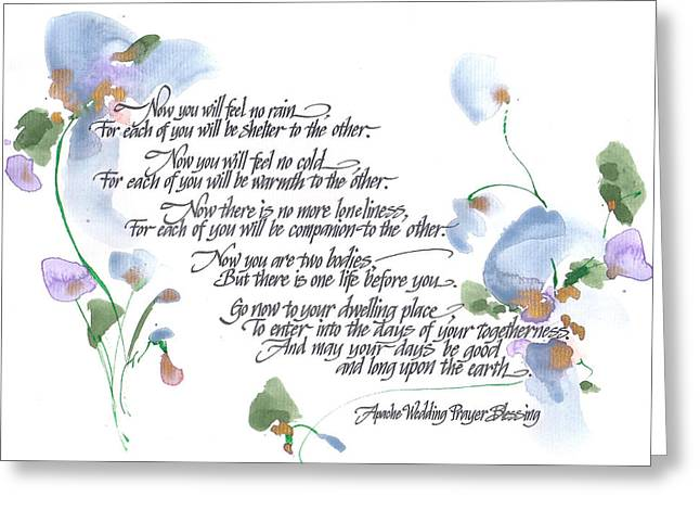 Calligraphy Art Greeting Cards - Apache Wedding Prayer Blessing Greeting Card by Darlene Flood
