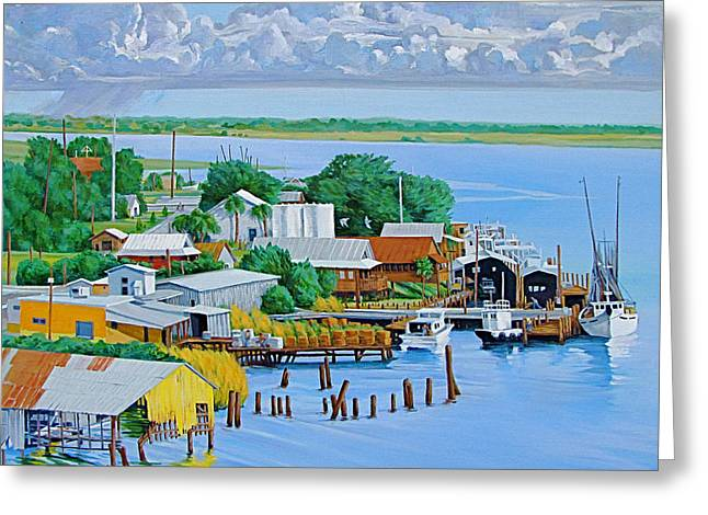Apalachicola Waterfront Greeting Card by Neal Smith-Willow